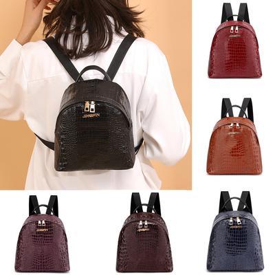 c0064ef3ac74 Школа шаблон студент Аллигатор моталки моды кожа женщин путешествия сумка  рюкзак