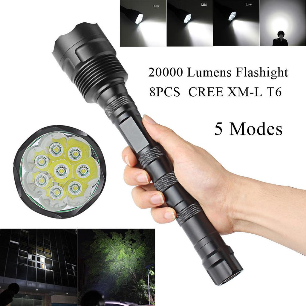 Tactical Police 15000lm CREE T6 5 Modes LED Flashlight for sale online