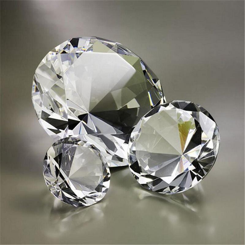 1pc Trasparente Fermacarte Sfaccettato Vetro Molato Gigante Diamante Gioielli