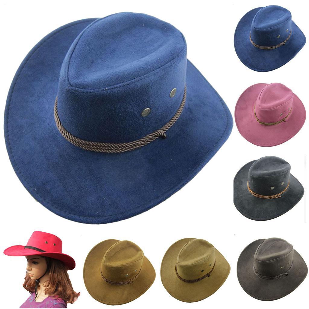 c445dfa7bea19 Retrô ocidental Cowboy Cowgirl chapéu homens cavalgando Cap moda esmagável  ampla Brim