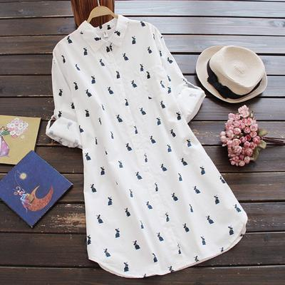 Suda Women Ladies Print Turn-down Collar Long Sleeve Loose Button Vintage Dress