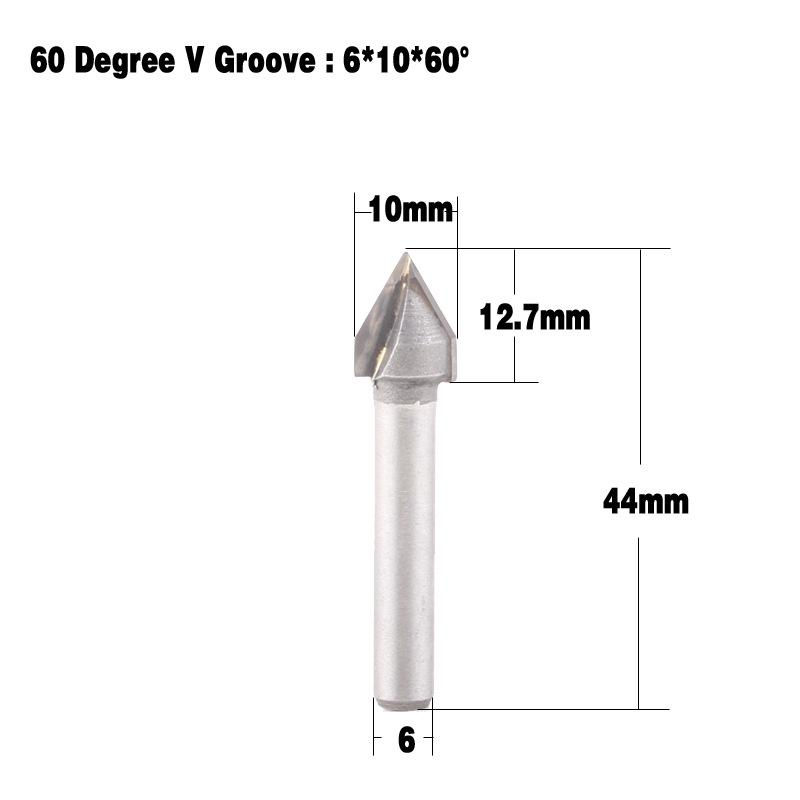 """6x10mm 60° CNC Router Engraving Wood Working Tool 1//4/"""" Shank V Groove Bit"""