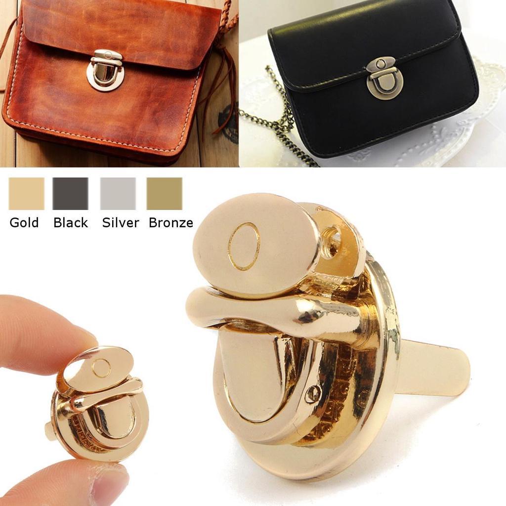 Bronze 5Pcs Purse Locks Heart-Shaped Purse Twist Turn Locks Button Closure Clasp Lock Leathercraft Accessory
