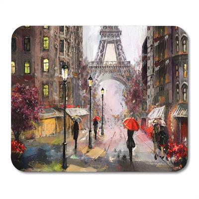 Oil Painting On Canvas Street View Of Paris Eiffel Tower People Under Red Umbrella Tree France Doormat Floor Rug Bath Mat 23 6x15 7inch 40x60cm Buy At A Low Prices On Joom E Commerce Platform