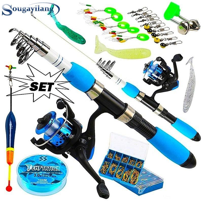 53pcs Fishing Kit Rod Reel String Hook Float Lead Weight Fishing Tackle 1.8m