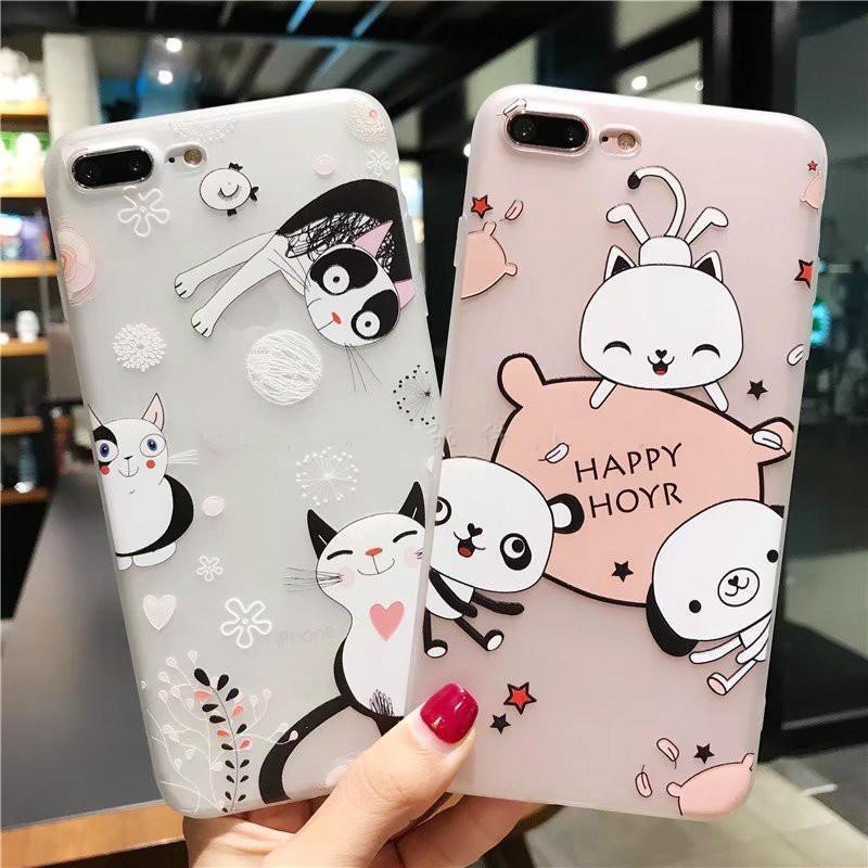 卡通猫浮雕小可爱苹果7/8plus手机壳熊猫iphone6s软壳苹果x保护套