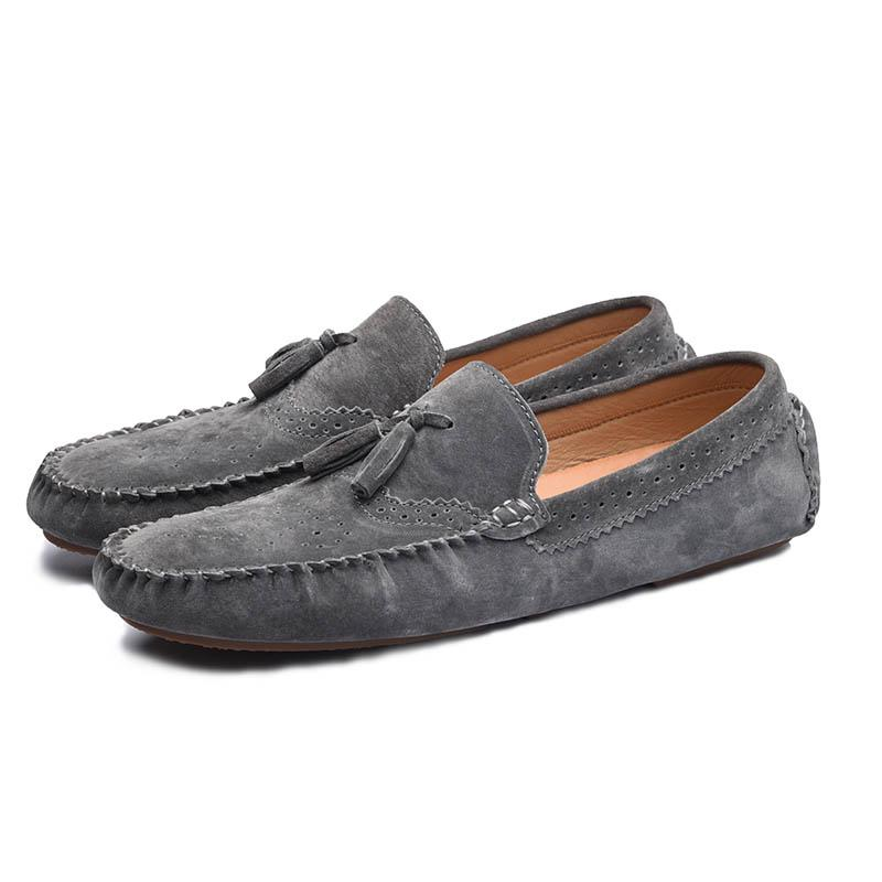 Mens Driving Moccasins Slip On Loafers Flat Lazy Leather Casual Pumps Boat Shoes