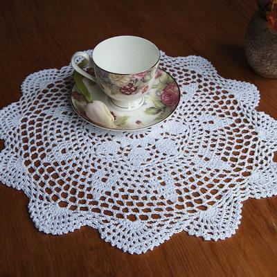 1pcs moda Vintage Floral mano Crochet algodón blanco tapete redondo ...