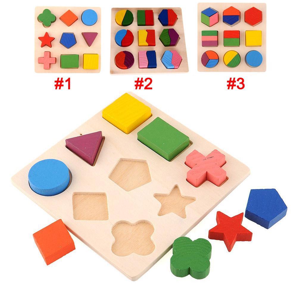 Головоломки мира образования Монтессори игрушки обучения Baby деревянные раннего обучения детей геометрии детей фото