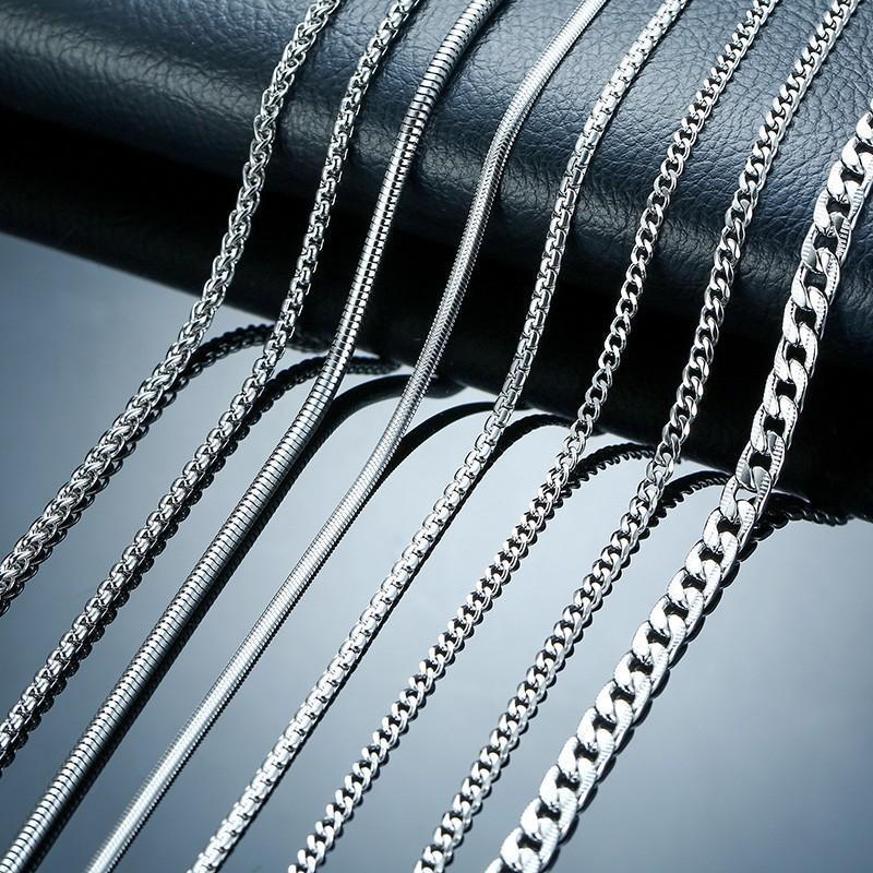 flat silver 45 cm long metal chain