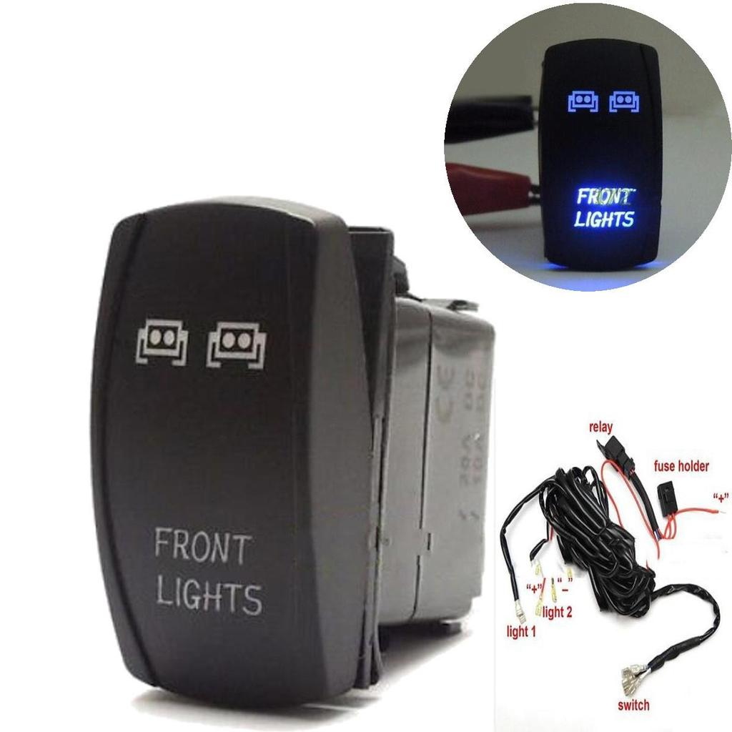 3,5 M Kabelbaum + blau Front LED Lichtleiste Laser Wippschalter für ...