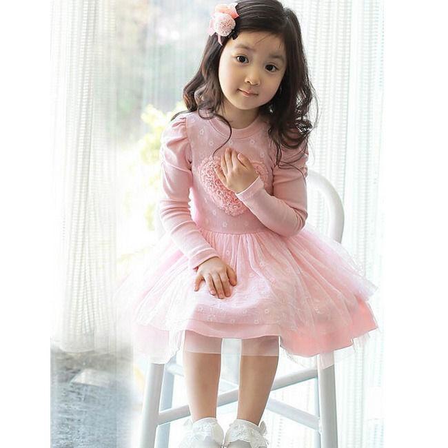 Vestidos de rosas niño bebé niñas fiesta manga larga 3D corazón Tul ...
