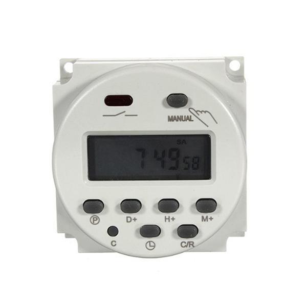 TM618sH-5V Interruptor de temporizador 7 d/ías a la semana Programable LCD Temporizador Interruptor Rel/é de tiempo Bater/ía recargable incorporada