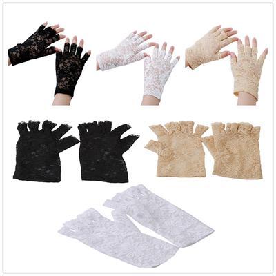 Ladies Black Lace Sheer Fingerless HALLOWEEN Gloves NWT