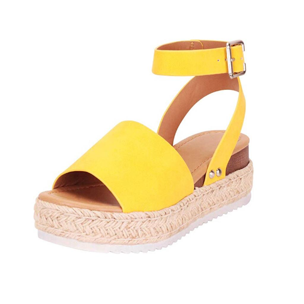 Lurryly Casual Womens Rubber Sole Studded Wedge Buckle Ankle Strap Open Toe Sandals