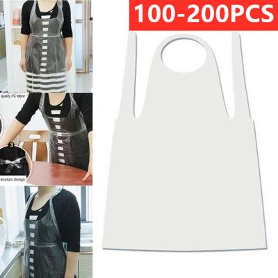 100 X Plastic Transparent Disposable Aprons Waterproof Oilproof Barbecue Apron