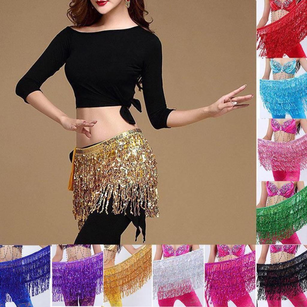 Shiny Colourful Coins Belly Dancing Dancer Skirt Belt Hip Scarf Wrap Costume
