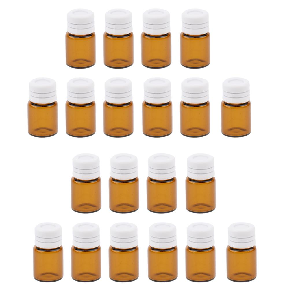 20 Pieces 3ML Clear Essential Oil Small Sample Glass Vials Bottles Containers
