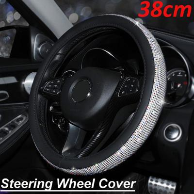 Bling 38CM Red Non Slip PU Leather Fashion Rhinestone Steering Wheel Cover