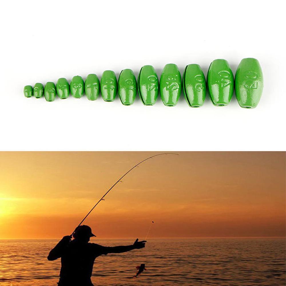 100 Pcs Olive-Shape Weight Lead Sinkers Pure Lead Making Fishing Sinker Tackle