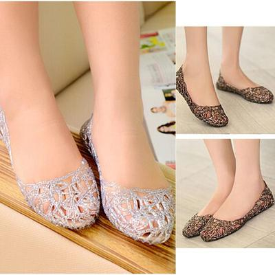 93f688f86722c9 Summer Crystal Plastic Jelly Shoes Breathable Out Flat Heel Bird Nest Mesh  Sandals