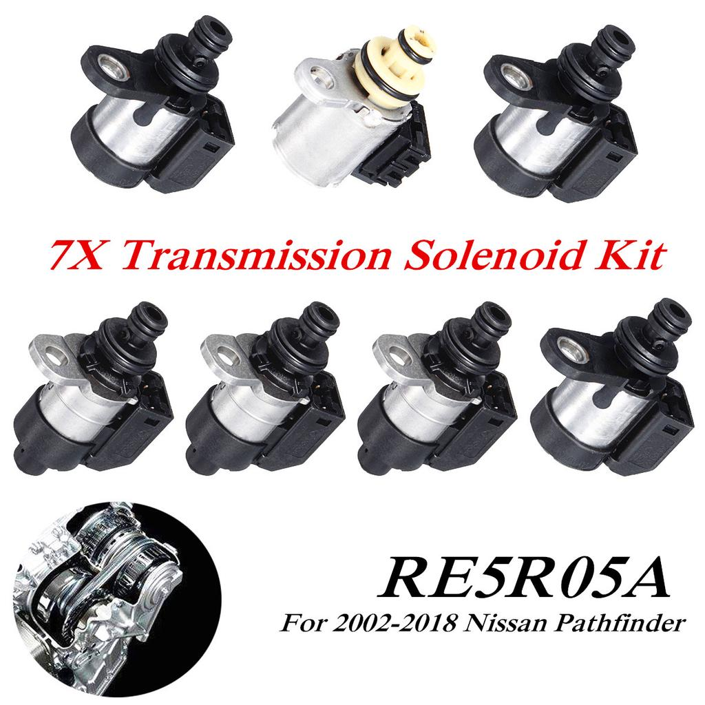 Acouto 7Pcs Transmission Solenoid Kit Set,Solenoid Valve for Nissan Pathfinder 2002-2018 RE5R05A