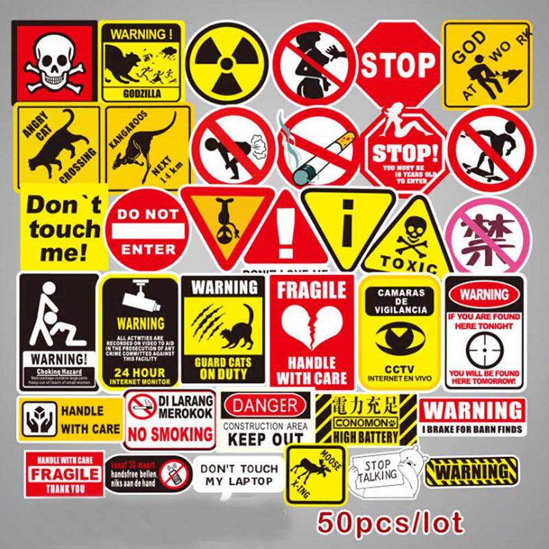 Wholesale Authentic Mixed Color Warning Stickers Snowboard Skateboard Car Laptop