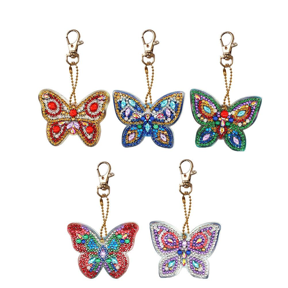 5PC//SET DIY Full Drill Diamond Paint Keychain Shining Decor Jewelry Pendant Gift
