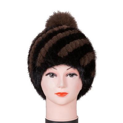 dfe944eb722 Handmade Russian Women Skullies Mink Fur Real Beanies Hats Fox Pom Winter  Lady Caps Fashion
