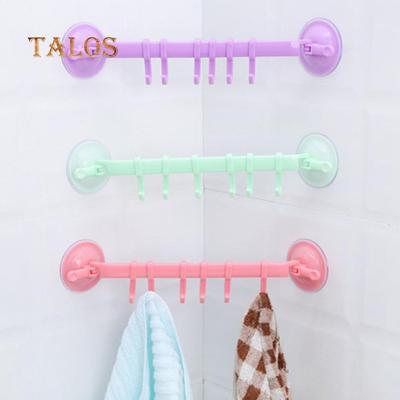 Adjustable 6 Hook Towel Rack Suction Cup  Bathroom Kitchen Holder Sucker Hangers