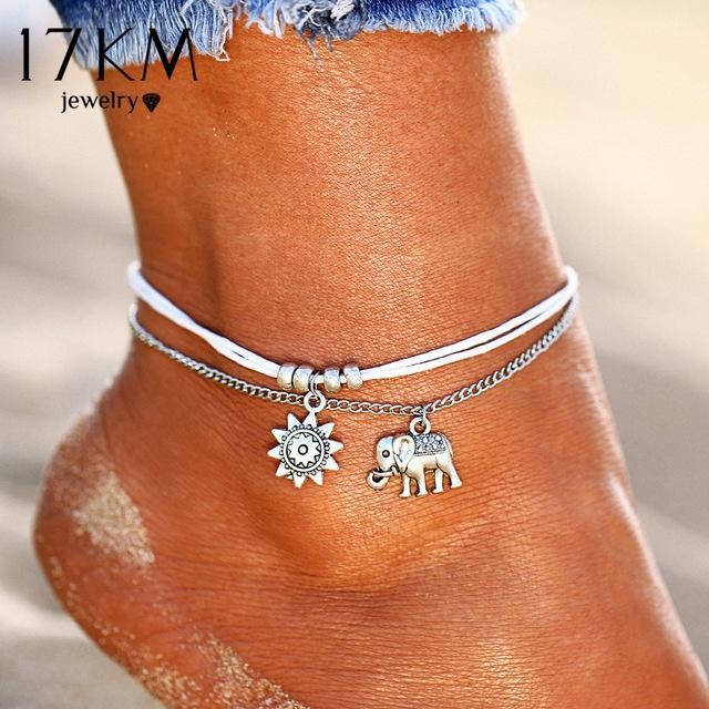 Женщины пляж ноги цепи ювелирные Винтаж слон блестками Шарм Браслеты браслет ювелирные изделия сплава фото