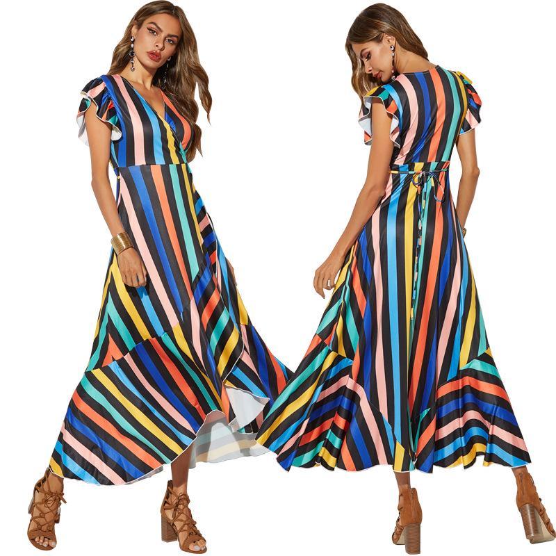 Summer Women Dress Suit Korean Letter Print O Neck T Shirt+Stripe Loose Dress SK