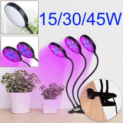 LED Grow Light Panel Lamp 15//30//45W Desktop Stand Clip For Indoor Plants Growing