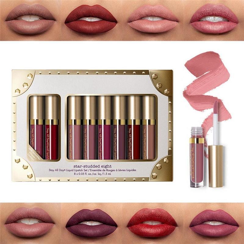 8pcs/set Matte Shimmer Liquid Lipstick Waterproof Long lasting Lip Gloss Makeup Accessories