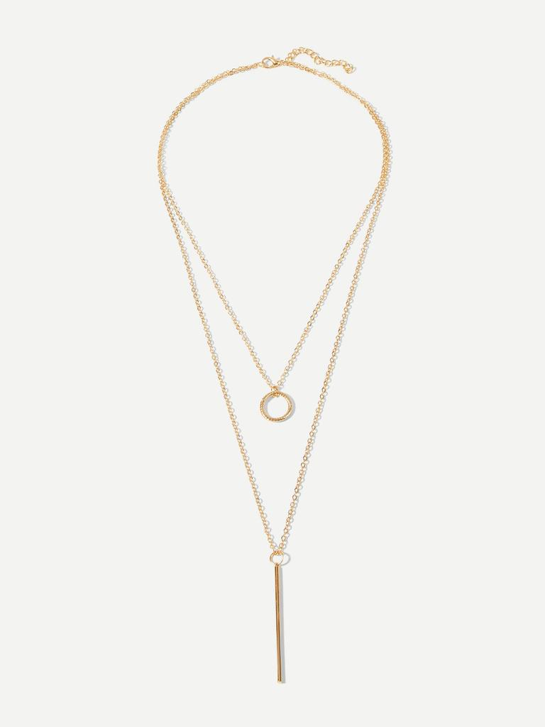0e53e4b185 SHEIN Bar & Circle Pendant Layered Necklace-buy at a low prices on ...