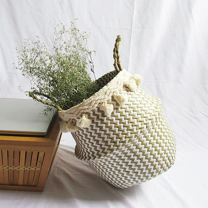 Details about  /Nordic Handmade Laundry Picnic Toy Storage Macrame Woven Flower Pot Straw Basket