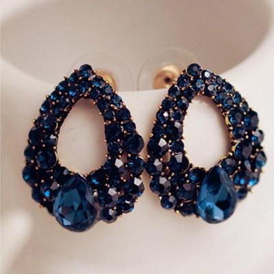 d7f00fab4344 Estilo vintage moda Rhinestone azul cuelgan oído Stud pendientes joyas  naturales las gotas de agua
