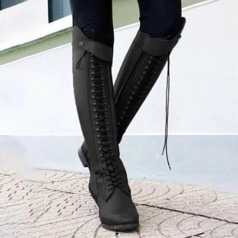 Осінь зима жінок Vintage коліно високі чоботи випадковий зашнурувати ... 05bd2254d4ee3