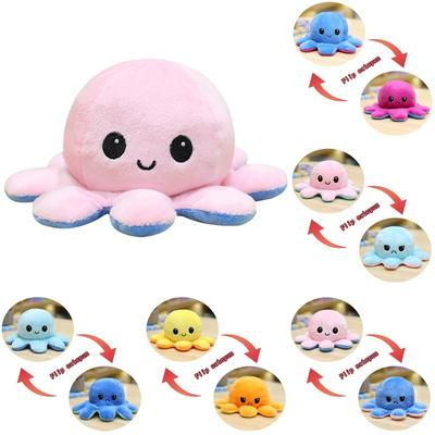 Double Side Flip Octopus Doll Plush Face-Changing Toy Cute Home Decoration Accessories