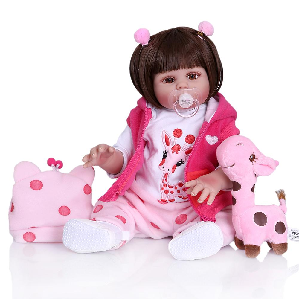 Pinky Realistic 22inch 55cm Bebe Doll Reborn Toddler Girl Doll Full Body Silicone Lifelike Baby Doll Hand Detailed Painting Anatomically Correct Doll Toy