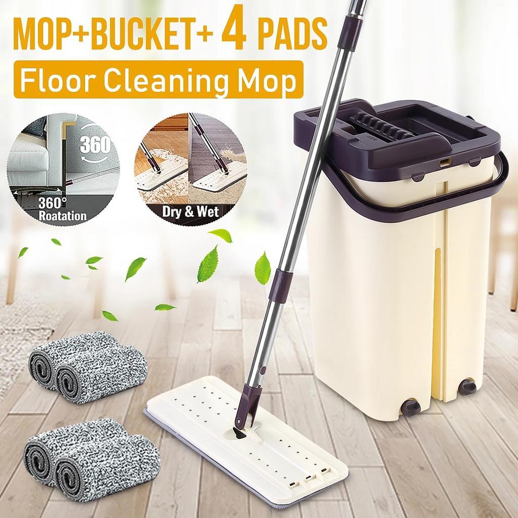 Floor Mop Bucket Hand Free Household Automatic Flat Floor Mop Kitchen Home  Wooden Floor Cleaning Microfiber Pads