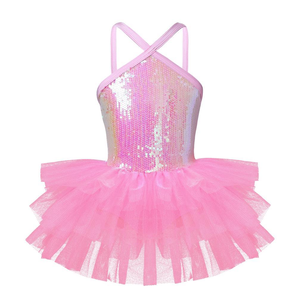 Girls Ballerina Costume Kids Ballet Gymnastics Dance Leotard Dress Sequined Wear