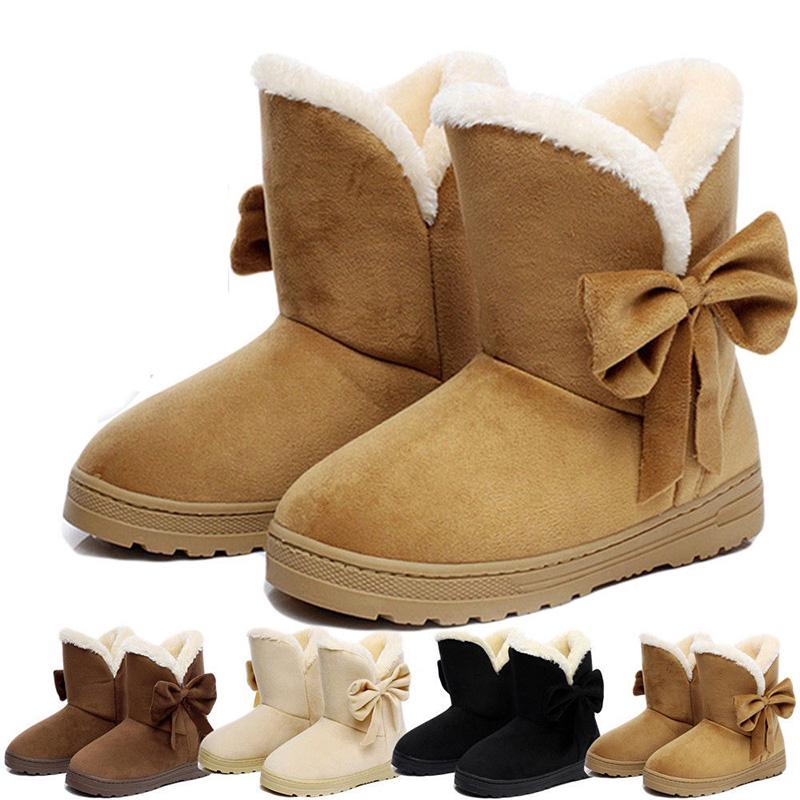 DailyShoes Womens Comfortable Round Toe Flat Ankle High Eskimo Winter Fur Snow Boots White Black