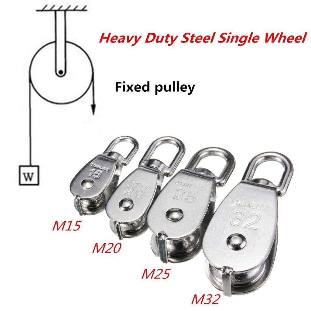 2Pcs Single Pulley Block Stainless Steel Crane Swivel Hook Loading M15//M20//M25