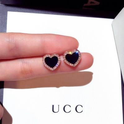 Elegant Rose Gold Color Black Cz Heart Stud Earrings Ear Studs Wedding Jewelry For Women Buy At A Low Prices On Joom E Commerce Platform