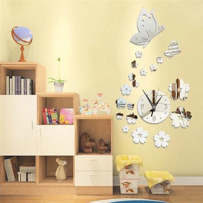 Home Supplies DIY Butterfly Mirror Wall Clock 3D Home Art Mirror Wall Sticker
