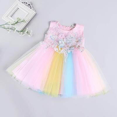Toddler Infant Baby Girls Dress Outfits Cute Long Sleeve Floral Bowknot Dress Toddler Party Tulle Tutu Dresses Pageant