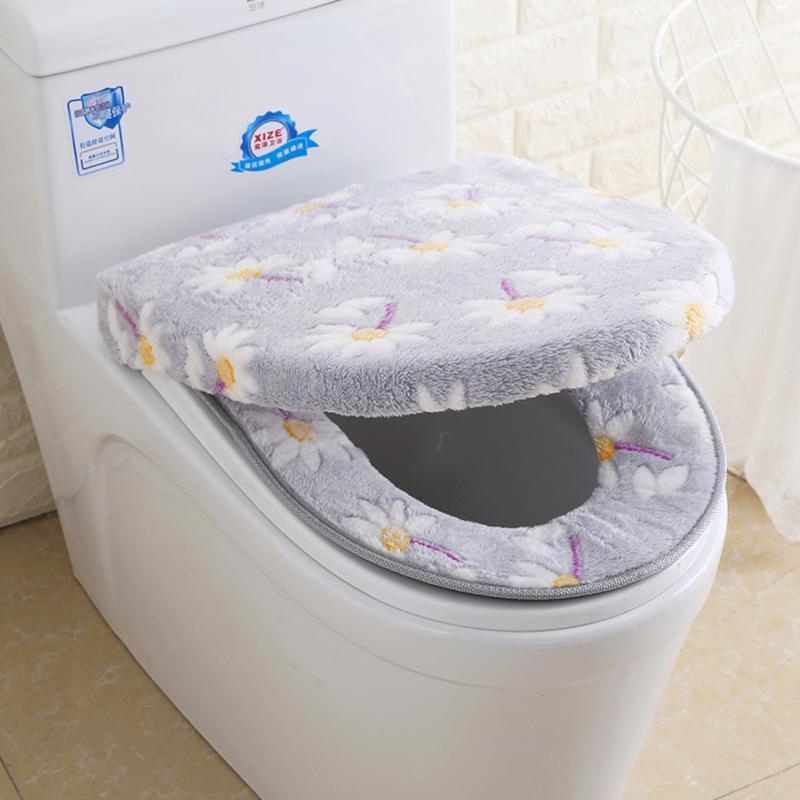 2Pcs Coral Fleece Toilet Seat Cushion Toilet Lid Cover Set Soft Washable Bathroom Closestool Mat Pad Pink