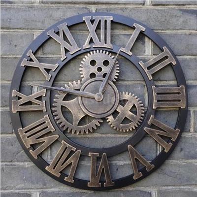 30/34/40/45cm Steampunk Decorative 3D Retro Vintage Gear Handmade Wooden Wall Clock Golden, Silvery