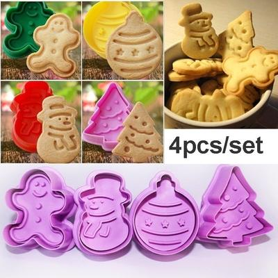 4Pcs Cookie Biscuit Cutters Set Bread Fondant Cake Mold Baking Tool Xmas